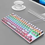 YWS Tastiera - tastiera cablata Tastiera da gioco con tasti multimediali dedicati progettata per PC gamer, PS4, PS5, laptop, XBOX(bianco)