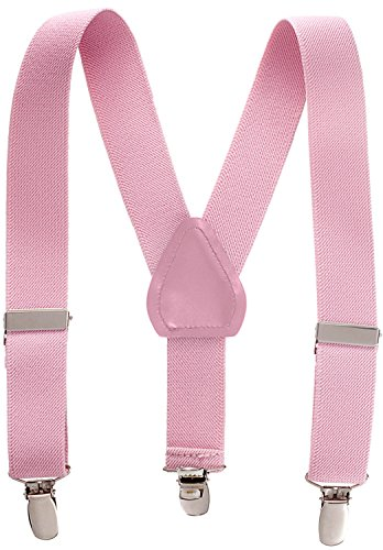 Suspenders for Kids - 1 Inch Suspender Perfect for Tuxedo - Light Pink (22')