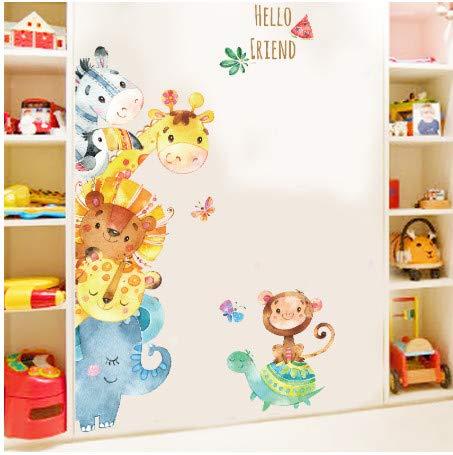 TTBH Funny Animals Friends Party Vinyl Wall Stickers for Kids Room Nursery Bedroom Door Wall Decor Cartoon Wallpaper Art Murals