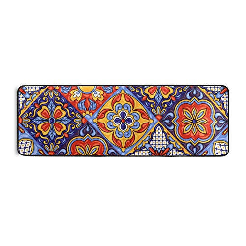 Blueangle Mexican Ceramic Tile Pattern Runner Rug 2' x 6' Non Skid Rug for Entryway Living Room Bathroom Nursery Home Decor