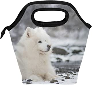 Mydaily Lunch Box Samoyed Dog Winter Reusable Insulated School Lunch Bag for Women Kids
