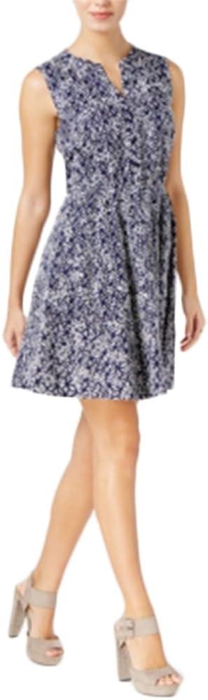 Maison Jules Womens Navy Floral Sleeveless V Neck Above The Knee Dress Size XXL