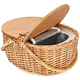 Wicker Picnic Basket with Cooler, Wooden Split Lid Picnic Basket, Vintage-Style Wicker Picnic Hamper with Folding Woven Handle for Picnic, Camping, Outdoor, Valentine Day, Thanks Giving, Birthday