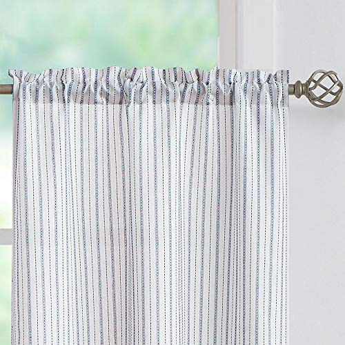 SXZJTEX Boho Rustic Tiers Striped Semi Sheer Textured Decorative Curtains Pinstripe Rod Pocket Window Tiers for Living Room & Bedroom, Kitchen, Patio, Villa, 27 Inch Wide x 24 Inch Long, White/Blue