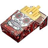 タバコケースメタルタバコケース レザーメタルタバコケース超薄いポータブルフリップメンズタバコボックス 金属製シガレットケース (Color : F, Size : 92X96X18MM)