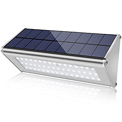 [Promotion - Super Bright Solar Radar Motion] HerrysHome 800 Lumen Water Proof 48 LED Solar Motion Sensor Lights Outdoor with Aluminum Alloy Housing for Deck Yard Driveway Patio Porch, 1 Pack, Silver