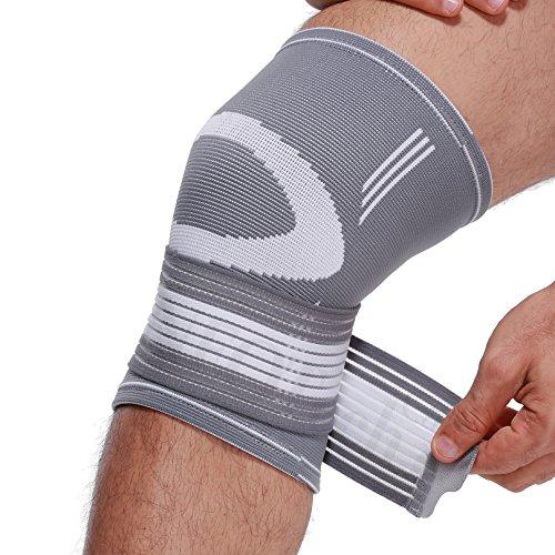 Neotech Care Kniebandage (1 Paar) - leichter, elastischer & atmungsaktiver Stoff - verstellbarer Kompressionsriemen zum Wickeln - Männer, Frauen - rechtes oder linkes Bein - Grau (L)