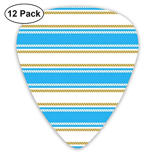 Gitaar Pick Naadloos Patroon Met Strepen En Kettingen Aanhoudende 12 Stuk Gitaar Paddle Set Gemaakt Van Milieubescherming ABS Materiaal, Geschikt voor Gitaren, Quads, Etc