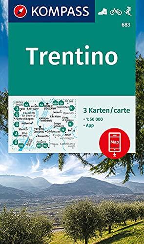 KOMPASS Wanderkarte Trentino: 3 Wanderkarten 1:50000 im Set inklusive Karte zur offline Verwendung in der KOMPASS-App. Fahrradfahren. Skitouren. Reiten. (KOMPASS-Wanderkarten)