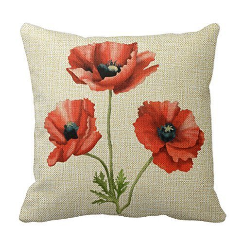 NicholasCGShopOnline C5331F Cotton Linen Decorative Throw Pillow Case Cushion Cover Beautiful Red Poppies Floral 18 'X18 '