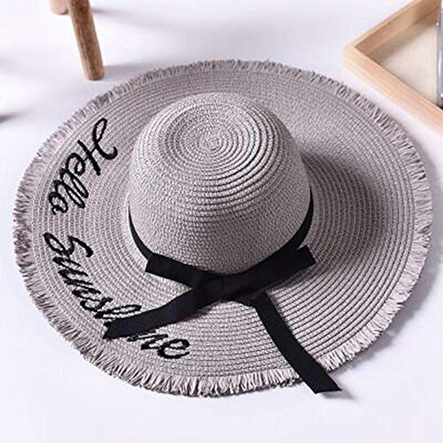 Sun Hat Straw Hat Sun Hats For Women Weave Letter Black Ribbon Lace Up Large Brim Straw Hat Outdoor Beach Hat-Gray