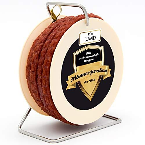 Geschenke 24 Kabel-Salami Männerpraline mit Name personalisiert: originelle Salami Kabeltrommel mit 3,5 m Wurst nach Krakauer Art - Geschenk zum Geburtstag, Vatertag