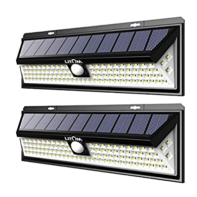LITOM Enhanced 102 LED Super Bright Solar Lights Outdoor, Solar Motion Sensor Lights with 270°Wide Angle, IP65 Waterproof, Easy-to-install Security Lights for Front Door, Yard, Garage, Deck