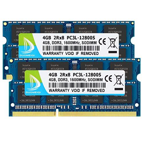 DUOMEIQI 8GB Kit (2x4GB) Laptop Notebook Memory (DDR3   DDR3L 1600 MHz, PC3L   PC3-12800, PC3L   PC3-1280S, SODIMM RAM, 204-pin) for Intel AMD & Mac