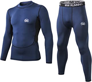 Men's Thermal Underwear Set, Compression Base Layer Sports Long Johns Fleece Lined Winter Gear Running Skiing