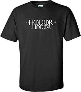 Hodor Hodor White Logo T Shirt Dragon Hold The Door Funny Joke TV Quote Hand King Queen Humor Drink Know Things Adult Short Sleeve Shirt