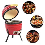 "Aoxun 13"" Kamado Grill, Roaster and Smoker. BBQ Grill,Multifunctional Ceramic Barbecue Grill, Egg Outdoor Kitchen Style"