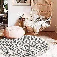 U'Artlines Alfombra Redonda de algodón de 120 cm Lavable Alfombra Redonda con Borlas Tejida a Mano para Sala de Estar Dormitorio Habitación de Niños