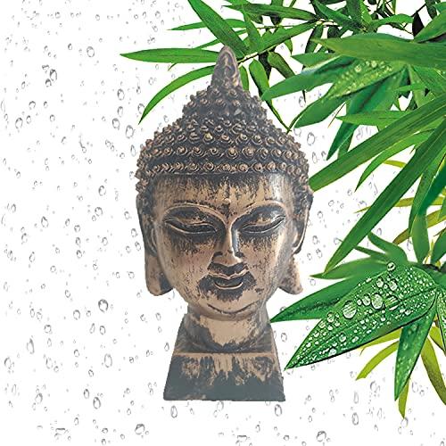 Buda Cabeza De Buda - Figura Decorativa Feng Shui - Decoración Zen Zen para Interior Exterior - Escultura Color Dorado