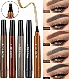 Natural 4 Points Tattoo Eyebrow Pen,Makeup Microblading Four Fork TipFine Brow Pen,Waterproof & Smudge-Proof Eyebrow Pencil Long-lasting Natural Hair-Like Defined Brows All Day (2 pcs) (black)