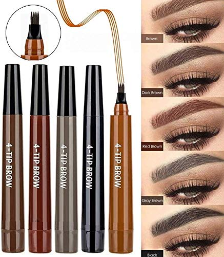 Natural 4 Points Tattoo Eyebrow Pen,Makeup Microblading Four Fork TipFine Brow Pen,Waterproof & Smudge-Proof Eyebrow Pencil Long-lasting Natural Hair-Like Defined Brows All Day (2 pcs) (Light Brown)