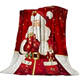 CosyBright Throw Blanket Warm Fuzzy Plush Blanket Flannel Fleece Bed Blanket Merry Christmas Red Santa Claus with Gifts Lightweight Blanket Throw for Sofa Bed Couch 40x50 Inch Twin Size