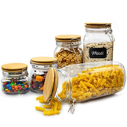 NOVILLA   Limitiertes Vorratsgläser Set 5-teilig   für die luftdichte und aromatische Aufbewahrung Ihrer Lebensmittel   eckige Glasbehälter mit Bügelverschluss & Bambus-Deckel   für Müsli oder Mehl