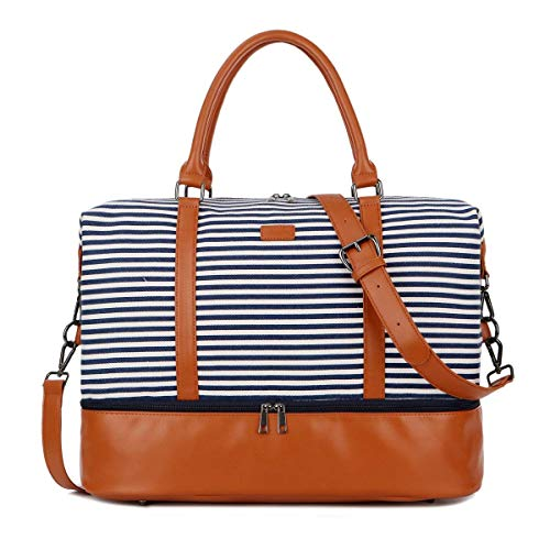 BAOSHA Women Travel Holdall Tote Bag Weekend Overnight Carry-on Shoulder Bags with Shoe Compartment HB-28 (Blue Strips)