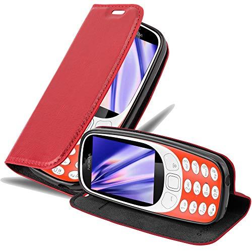 Cadorabo Hülle für Nokia 3310 - Hülle in Apfel ROT – Handyhülle mit Magnetverschluss, Standfunktion & Kartenfach - Case Cover Schutzhülle Etui Tasche Book Klapp Style