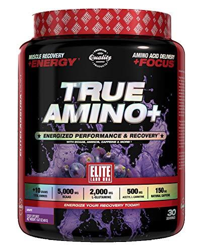 SPORTS NUTRITION SOURCE Elite Labs True Amino mit 10+G Aminos, 5000mg BCAAS, 2000mg L-Glutamine, 500mg Acetyl l-Carnitine, 500mg natürlich Koffein, Grape 30 portionen, 1er Pack (1 x 449 g)