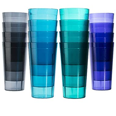 Cafe 20-ounce Break-Resistant Plastic Restaurant-Quality Beverage Tumblers | Set of 16 in 4 Coastal Colors