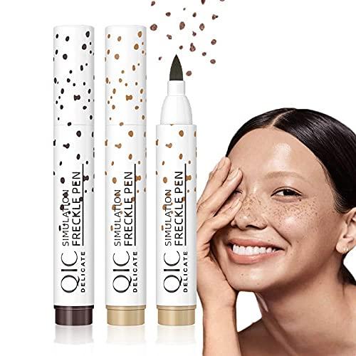 Sommersprossen Stift,Freckle Pen,Faux Freckles,Wasserdicht Freckles Pen,Natürlicher Naturgetreuer Freckles Makeup Pen. (Hellbraun)