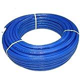TDM Mehrschichtverbundrohr Alu - Verbundrohr für Trinkwasser Heizung mit DVGW Zertifiziert (Isoliert Blau Verbundrohr 32 x 3,0mm, 25m)