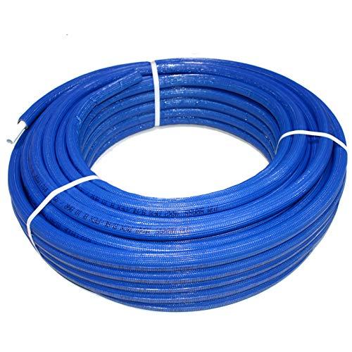 TDM Mehrschichtverbundrohr Alu - Verbundrohr für Trinkwasser Heizung mit DVGW Zertifiziert (Isoliert Blau Verbundrohr 16 x 2,0mm, 50m)