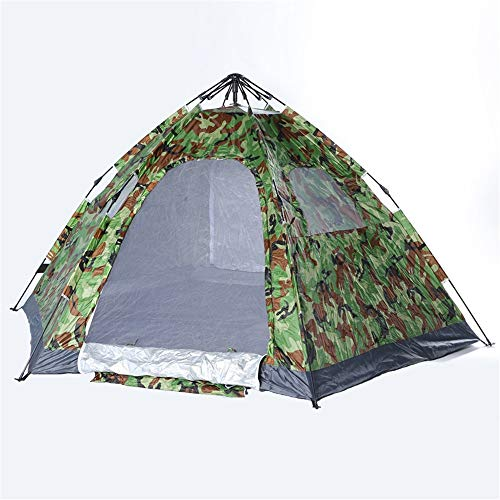 LiangDa Outdoor Tent Outdoor 6-8 People Camouflage Single-layer Automatic Tent Beach Camping Two-door Family Travel Hexagonal Tent (Color : Camouflage, Size : 1door)