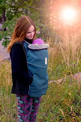 manduca by MaM Tragecover Flex für Babytragen aus elastischem Softshell mit Plüsch-Innenfutter (Softshell Deluxe Sherpa, Cosmos Blue) blau/schwarz