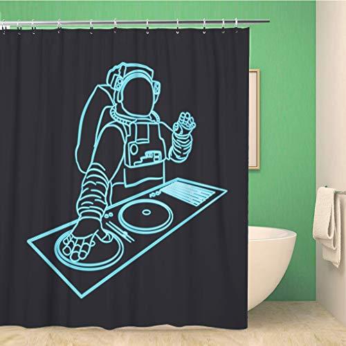 Awowee Duschvorhang Techno Neon Astronaut DJ Elektronische Musik Party Festival Rave, 180 x 180 cm, Polyester-Stoff, wasserdicht, Badvorhänge Set mit Haken für Badezimmer