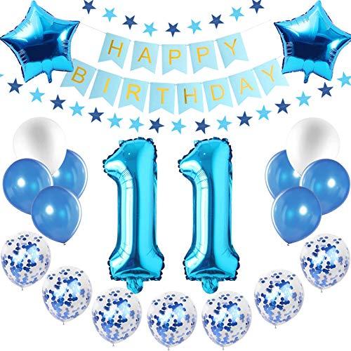 Blau Luftballons Metallic,luftballon 11. geburtstag Blau,Happy Birthday Folienballon,Happy Birthday Dekoration Zahl,Nummerndekoration,Riesen Folienballon,Happy Birthday Dekoration