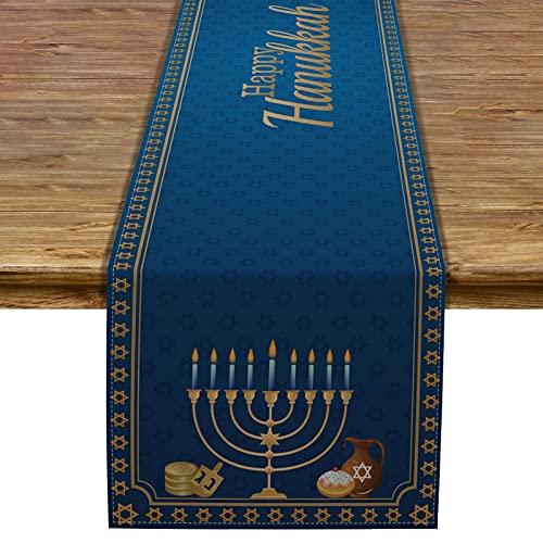 Pudodo Happy Hanukkah Table Runner Chanukah Menorah Star of David Table Decor Jewish Festival Holiday Party Kitchen Dining Home Decoration