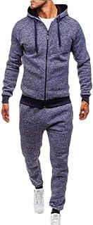 Men Patchwork Zipper Sweatshirt Top Pants Sports Suit Tracksuit