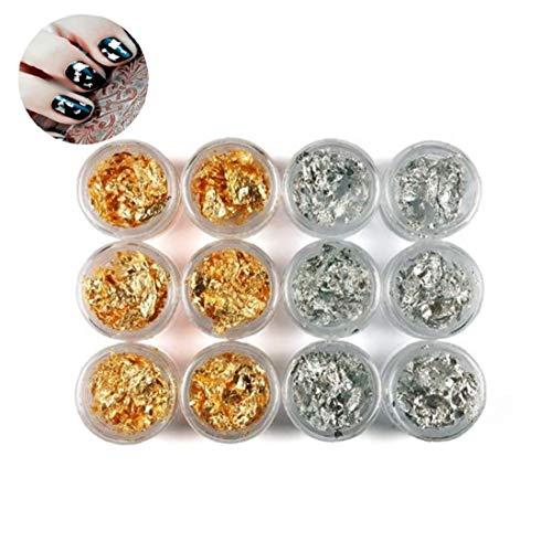 ZYCX123 12 Pot/Set de uñas Arte de Paillette de Plata Accesorios Hoja de Oro de la viruta espumoso de la escama del Brillo de la Etiqueta DIY Gel Ultravioleta de acrílico Decoración