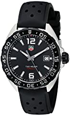 Stainless steel watch with unidirectional black bezel and dial with luminous hour markers and date display at three o'clock 41 mm stainless steel case with synthetic-sapphire dial window Swiss quartz movement with analog display Rubber band with buck...