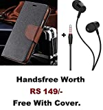 Anzio Soft Silicone Wallet Flip Cover Plus Handsfree for Lenovo Vibe K5 Plus (Brown)