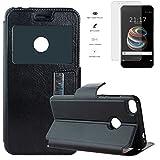 Todobarato24h Funda Libro Ventana Negra Compatible con Xiaomi MI A1 MI 5X MI5X (5.5) + Protector de Cristal Templado