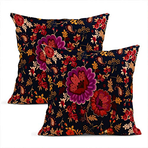 Meowjoy Set of 2 Cushion Covers Print Linen Country Bouquet Russian Folk Bunch Flowers Paisley Dark Blue Pillowcases Car Sofa Bedroom Home Decor Gifts for Family Friends 18x18 Inch