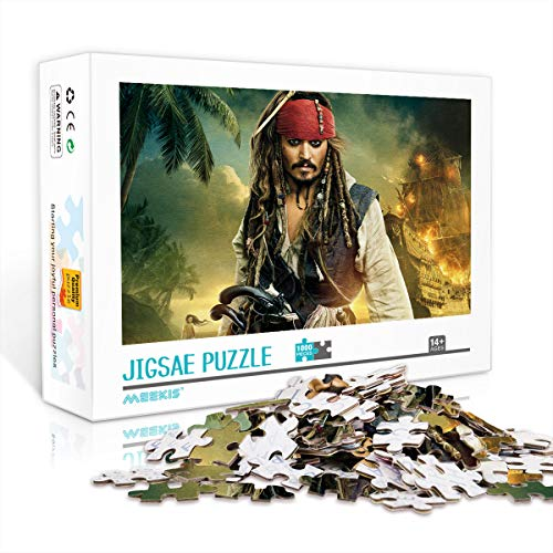 Adultos y niños Puzzle de gran sabiduría Capitán Jack Sparrow Chase After Girls The Props 1000 Uds 75x50cm rompecabezas de madera