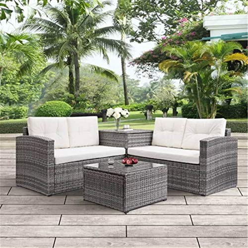 NICESOUL Outdoor Patio Furniture Sofa Set 4-Seatings with Large Storage Box and Coffe Table PE Rattan Wicker Conversation Sets (Beige Color)