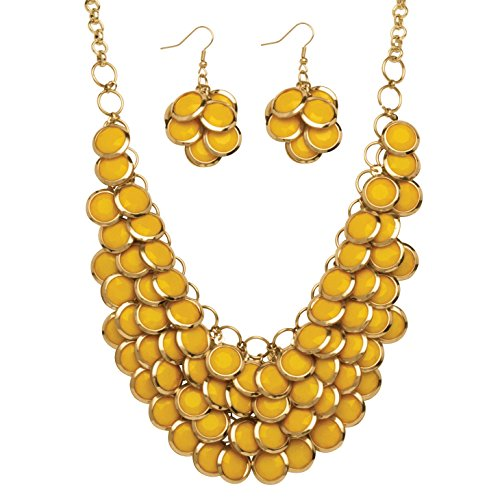 Palm Beach Jewelry Gold Tone Round Yellow Lucite, Drop Earring and Bib Necklace Set (65mm), Lobster Claw Clasp, 18 inches Plus 3 inch exten