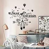 decalmile Pegatinas de Pared Frases BE Brave Seek Adventure Vinilos Decorativos Letras Montañas Negro Adhesivos Pared Dormitorio Salón Oficina