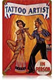Harvesthouse Tattoo Artist - Pin-Up Girl Vintage Metal Sign, Decorative Retro Coffee Bar Sign, 12 x ...